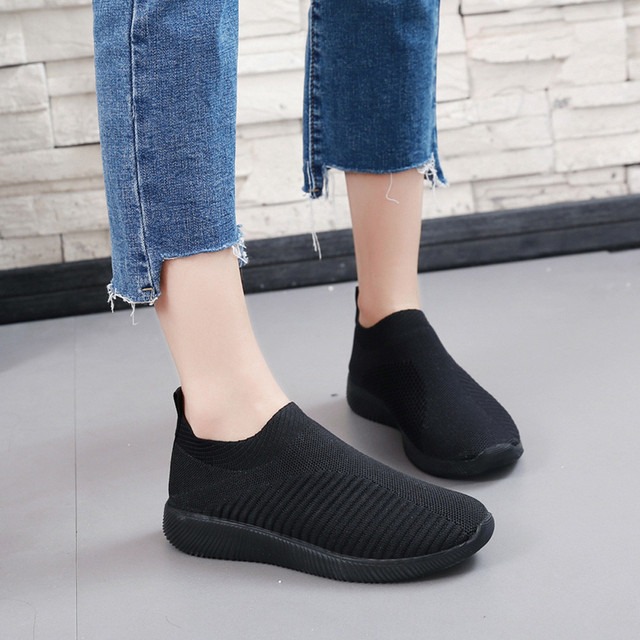 Summer breathable flat shoes women's sports shoes knitted vulcanized shoes mesh anti-slip socks sports shoes сникерсы женские#15 1