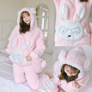 Image 3 - JULYS SONG Autumn Winter Pajamas Women Pajama Sets Flannel Pink Rabit Cartoon Thick Warm Women Sleepwear Cute Animal Homewear