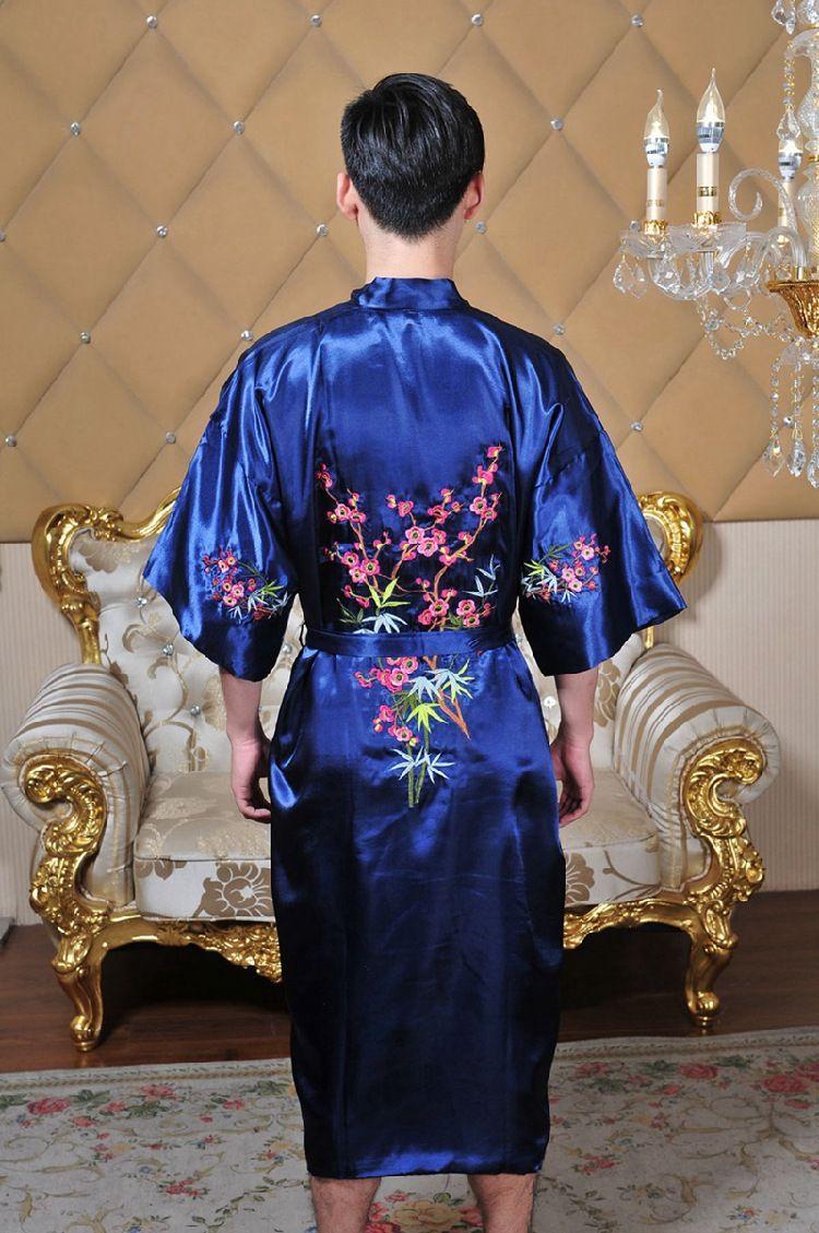 Men s Chinese Silk Satin Embroidery Robe Flowers Kimono Bath Gown male  Bathrobe Sleepwear Traditional Yukata 62605-in Robes from Men s Clothing    ... 89f941caa