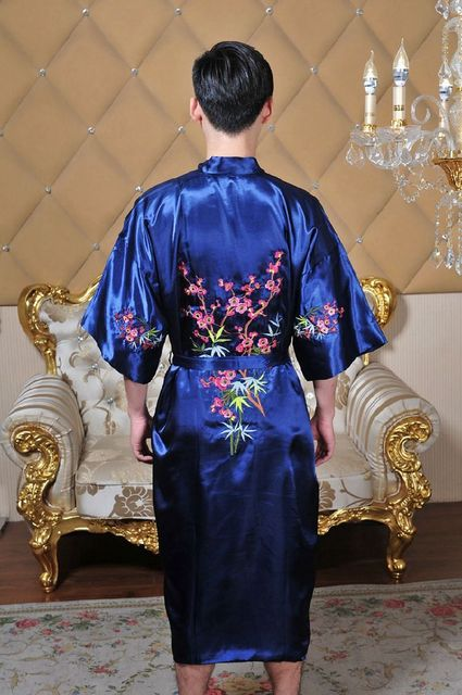 Men's Chinese Silk Satin Embroidery Robe Flowers Kimono Bath Gown male Bathrobe Sleepwear Traditional Yukata 62605