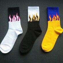 Flame Socks Men Print Cotton Crew Mens Stockings Sloth Winter Fire Street Style Hip Hop Cool Male Skateboard Women Funny