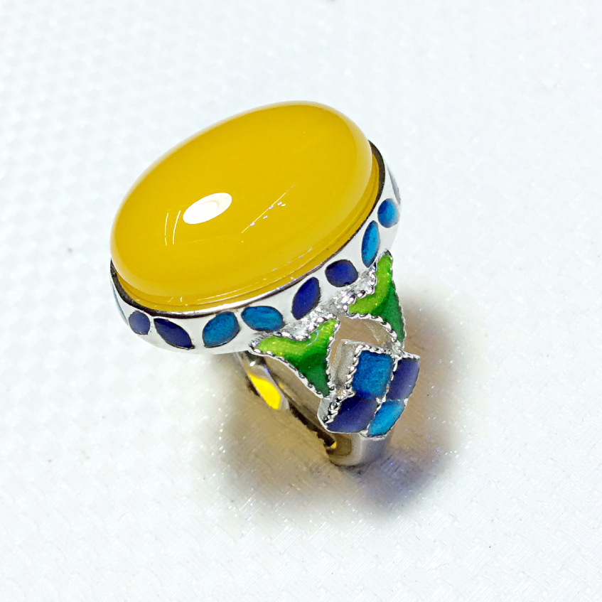 Cloisonne enamel jewelry ring round ring decorated with thick gold rings mushroom cartoon cloisonne jewelry enamel round ring european and american style