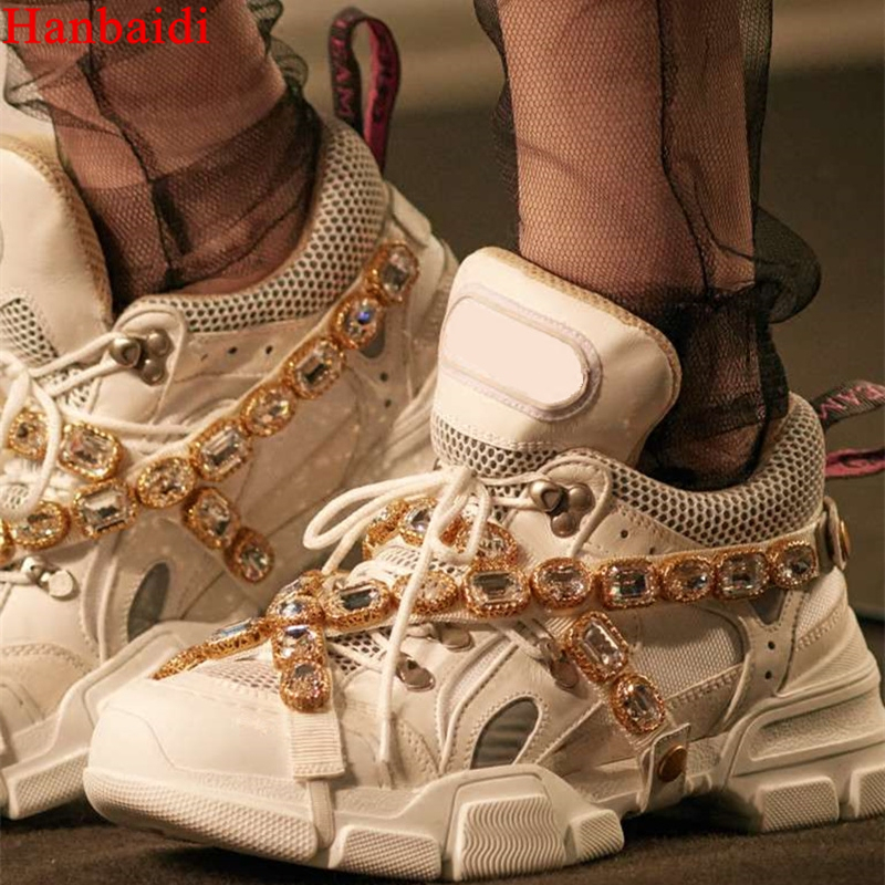 Hanbaidi Luxury Handmade Crystal Embellished Mixed Colors Platforms Shoes 2018 New Lace Up Ultra Sneakers Pre order Shoes Woman