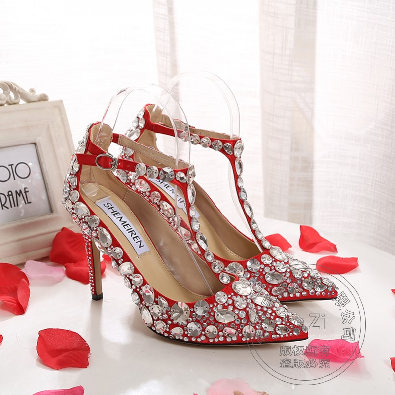 Soft Leather Size 34 Wedding Shoes T Strap Designer Shoes Buckle Shoes 2015 Red Italian Bridal