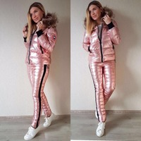 Warm Down Cotton Bright Leather Women Ski Suit Winter Thick Big Fur Collar Hooded Jacket Outdoor Slim Trousers 2 Pieces Suit
