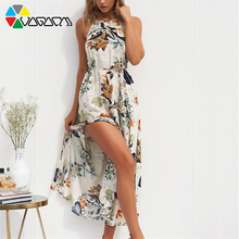 Women Summer Boho Floral Print Sundress Plus Size Halter Neck Sleeveless Tunic Split Long Beach Party Dress