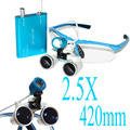 Brand New Blue Dentist Dental Surgical Medical Binocular Loupes 2.5X 420mm Optical Glass Loupe+LED Head Light Lamp