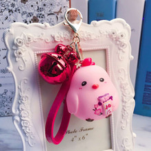 Prety Rubber chicken Cartoon Doll Keychain Alloy Bells Leather Strap Key  Chains For Car Bag Pendant 5035dceda1