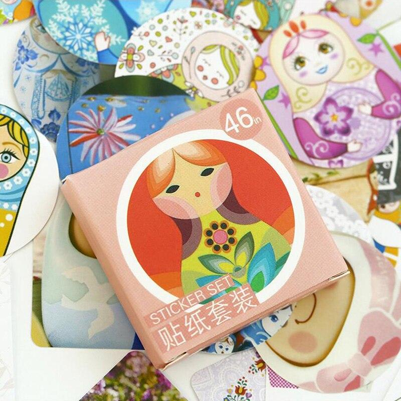 46 Pcs/ Box Russian Dolls Mini Paper Sticker Decoration DIY Diary Scrapbooking Seal Sticker Kawaii Stationery
