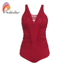 Andzhelika Plus Size Swimwear Women One-Piece Swimsuit Solid Mesh Swimwear Fold Bodysuit Bathing Suit Brazilian Beach Monokini(China)