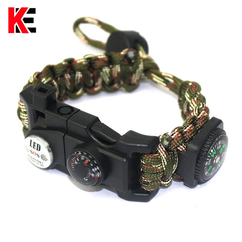 Outdoor Paracord Survival Bracelet Multi-functional Camping Hiking Gear Compass SOS Light Whistle Rescue Rope Tactical Wrist Kit