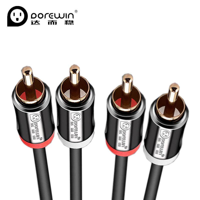 Dorewin 2RCA to 2 RCA Cable Male to Male RCA Audio Cable Gold Plated 3.5 Jack AV Cable for Home Theater DVD TV Amplifier Camera  skw audio cable speaker wire male to male hi end gold plated jack nylon cable lock adapter connector for hifi amplifier 5 16ft
