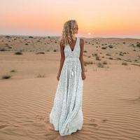 2019 Summer Bohemian Long Sundress Casual Beach Loose Dress V Neck Sleeveless Wave Print Dress