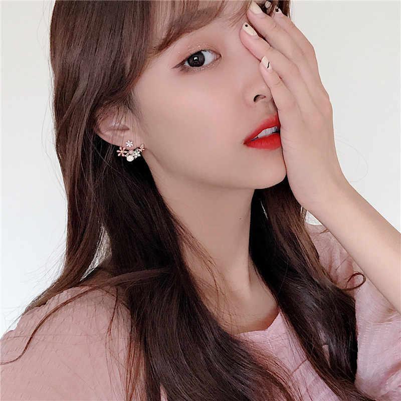2019 koreański hot moda biżuteria świeży śliczny hak spadek oleju kolczyki sztyfty z kwiatem kryształowy kolczyk dla kobiet