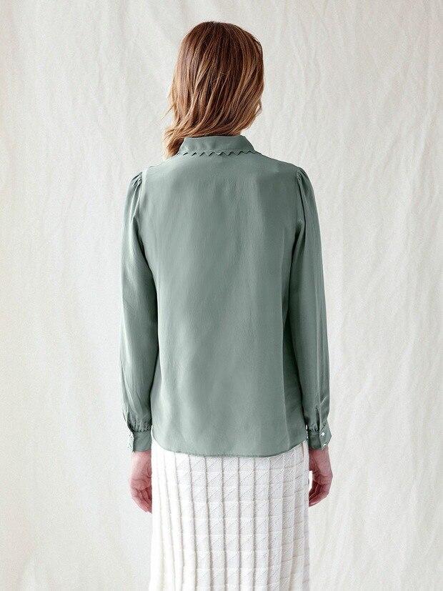 Blusa de manga larga de seda para mujer-in Blusas y camisas from Ropa de mujer    3