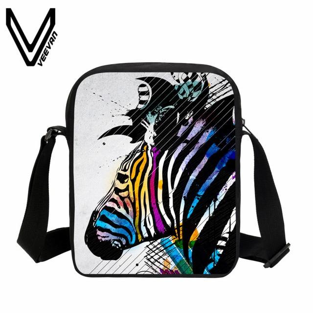 VEEVANV Casual Men Messenger Bag 3D Zebra Printing Handbags Boys Mini Purse  Girls Crossbody Bag New Children School Shoulder Bag