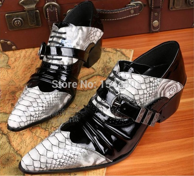 5d096e3ee8 Python Zebra Print Shoes Elevator Business Shoes Men Casual Leather Oxfords  Genuine Leather Mens Brogues Pointed Toe Oxford Men
