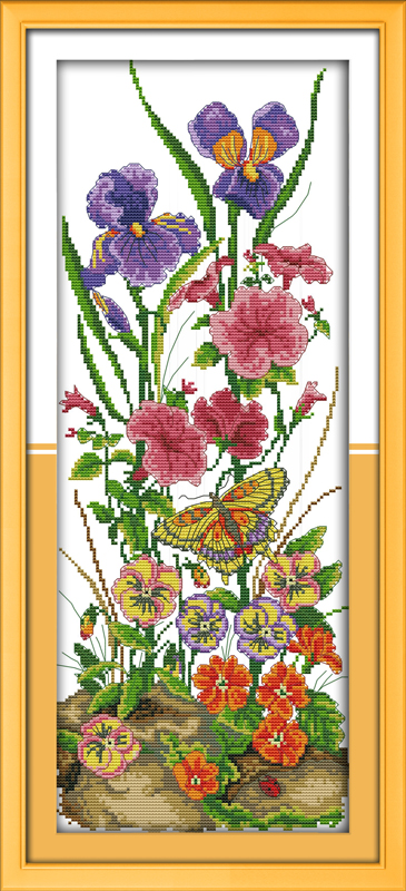 Cross Stitch Stamped Kits Quilt Pre-Printed Lemon Tea Cross-Stitching Patterns for Beginner Kids Adults 11CT 36 x 26cm