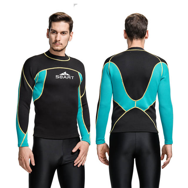 31a20b52939a SBART neoprene wetsuit 2mm surf swim tops men long swim shirt thermal swim  top fitness dive swimming suit-in Wetsuit from Sports & Entertainment on ...
