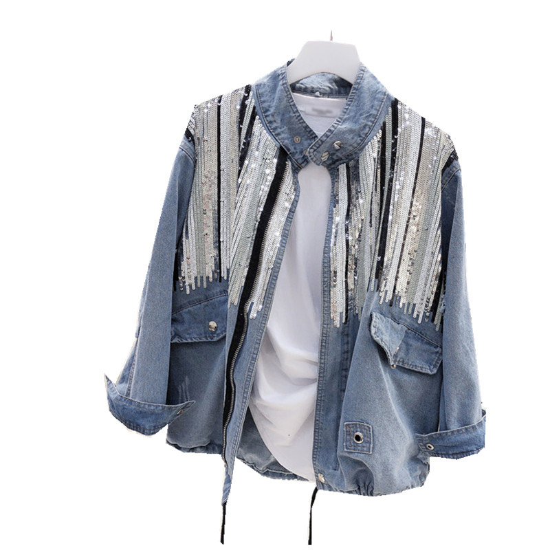 2018 Casual Women Coat Spring Autumn Long Sleeve Basic Coats Loose Hot Fashion Bling Sequins Denim