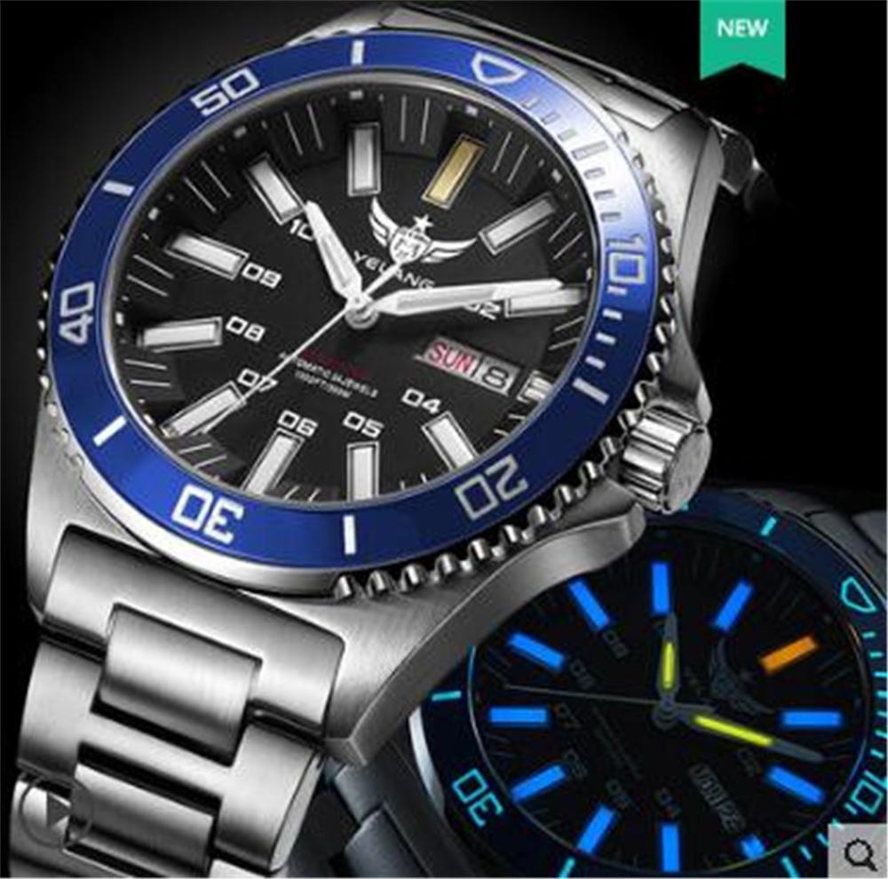 Yelang mężczyźni tryt T100 zegarek automatyczny zegarek wodoodporny 300m japonia najwyższej ruch 24 klejnotów obracać Dial data dzień pływać Diver zegarek w Zegarki mechaniczne od Zegarki na  Grupa 1