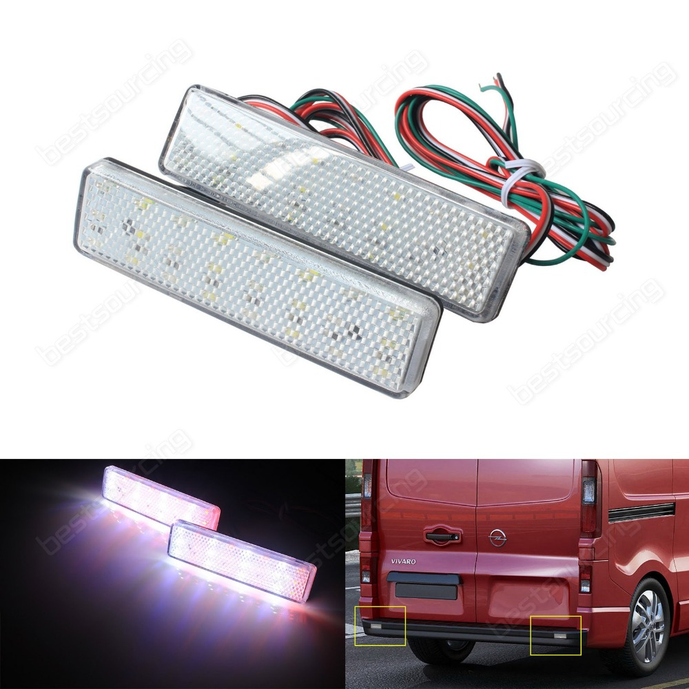 2pcs LED Rear Bumper Reflector Light For Opel / Vauxhall Vivaro Movano A Clear Lens(CA328)