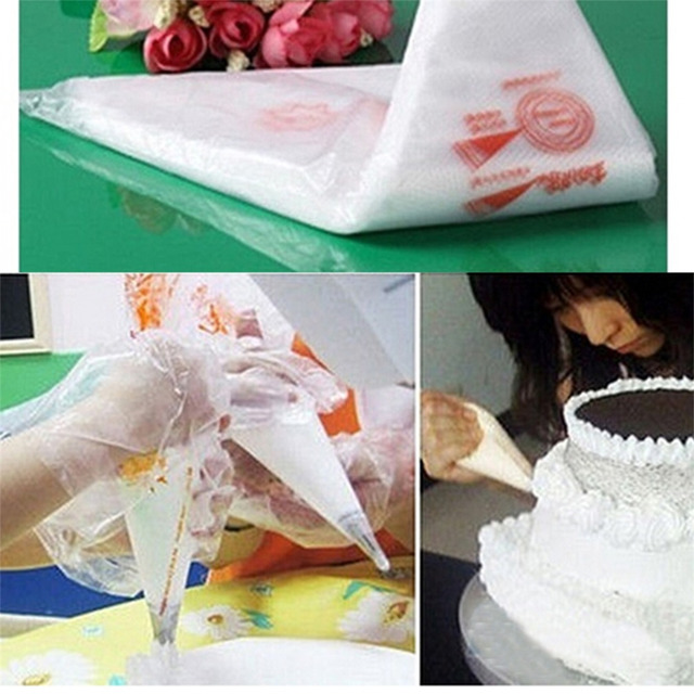 100 PCS Baking Decorating Bag For Baking Cake Tool Disposable Piping Bag Icing Nozzle Fondant Cake Decorating Pastry Tips Tools