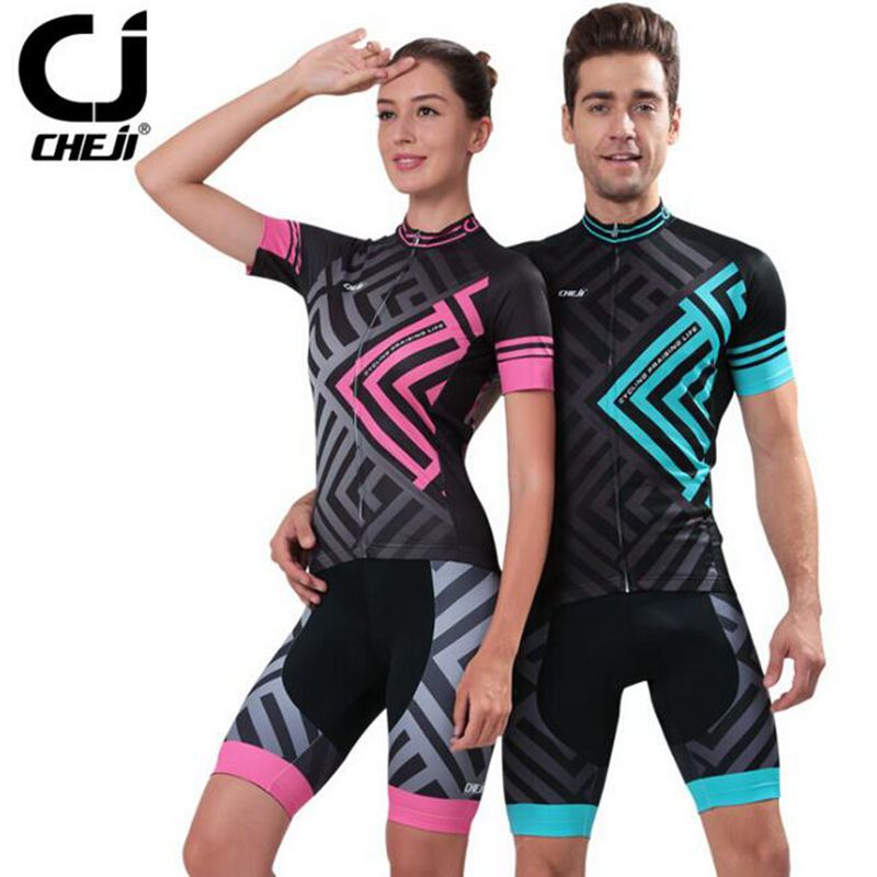 2017 CHEJI Men And Womens Outdoor Cycling Jersey Bike Breathable (Bib) Shorts Ropa Ciclismo Bicycle Couples Clothing Sport Suit cycling jersey 2017 cheji top high quality racing sport bike jersey mtb bicycle cycling clothing ropa ciclismo summer clothes