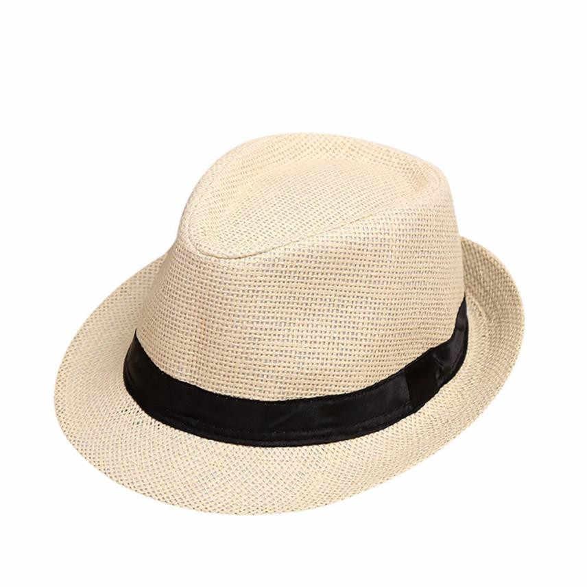 5a9b4194667 ... NewChildren Kids Summer Beach Straw Hat Jazz Panama Trilby Fedora Hat  Gangster Cap Outdoor Breathable Hats ...