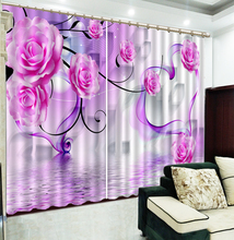 3D Curtain Fantasy Pink Rose Floating In The Water Customized Curtains Practical Beautiful Blackout