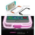 Newest Clear Transparent Connect High Speed USB Charge Cable Led Flash Light Up Cases Cover For Apple iphone 5 SE 5S 6 6s Plus