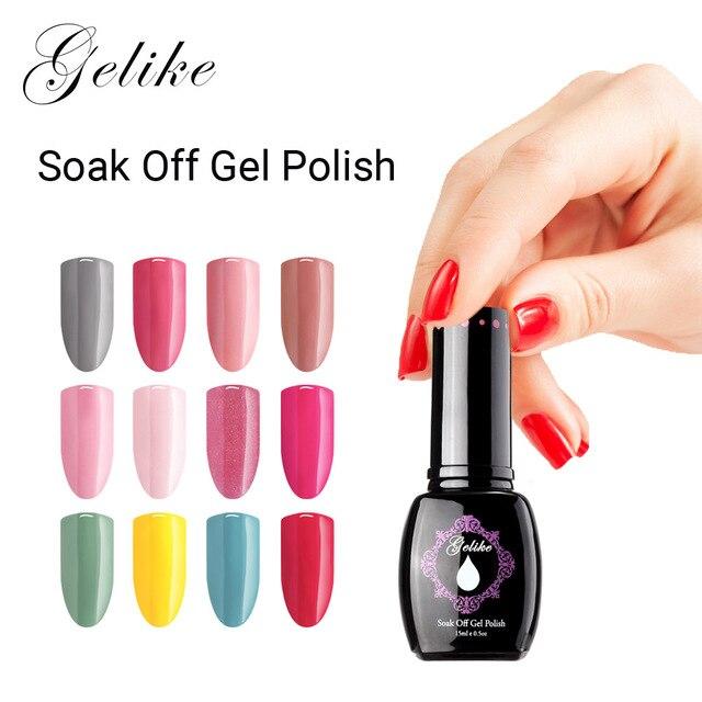 Gelike 15 ml No Chipping y decoloración de alto brillo Gel empapar uñas de Gel UV LED Gel de uñas barniz remojo de uñas esmalte de uñas de arte