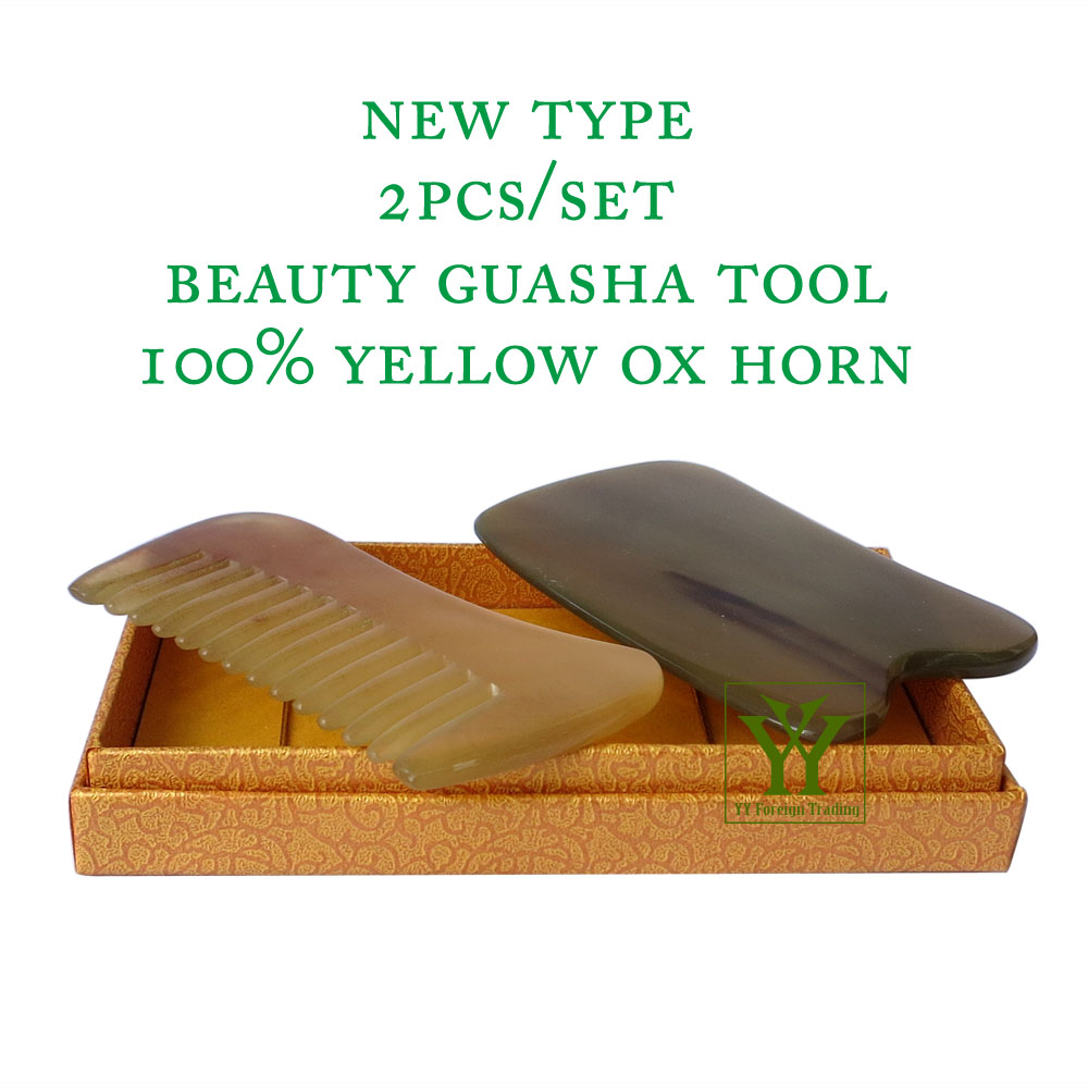 New Arrival 100% yellow ox horn thicken high polishing beauty guasha tool 1pcs comb and 1pcs square plate new arrival 100% buffalo horn thicken high polishing beauty guasha tool 1pcs square 1pcs dolphin plate