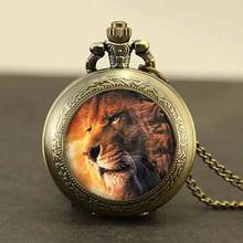 Aslan The Lion king Watch Necklace 1pcs/lot Narnia alex pocket watch Pendant Quartz jewelry Watches chain vintage clock time toy(China)
