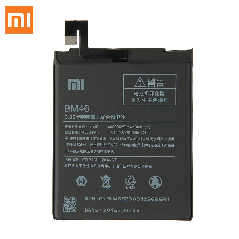 Original XIAOMI BM46 Replacement Battery For Xiaomi Redmi Note 3 Hongmi Note3 Authentic Phone Batteries 4050mAh