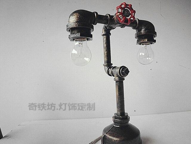 Luxury Vintage Desk Tble Lamp Light Iron Water Pipe Diy