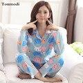 Algodão Mulher Sleepwear Primavera E No Outono Cardigan da Longo-luva Pijamas Nightclothes Sono Feminino Set Lounge Pijama Plus Size 3XL