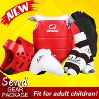 High quality full set adult children Taekwondo protectors chest headgear Helmet leg arm shin guards groin guard 6pcs crotch gear