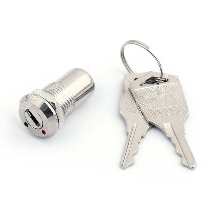 Areyourshop D135 12mm Micro Barrel Electronic Key Lock Switch On/Off 2 Positon With Key Wholesale Switches