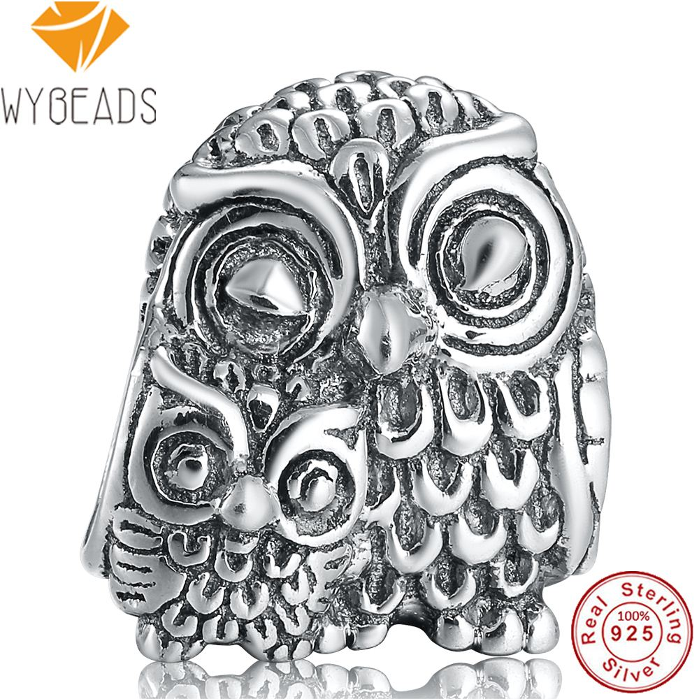 WYBEADS 925 Sterling Silver Delicately Charming Owls Animal Charms European Bead Fit Bracelets Bangle DIY Accessories Jewelry