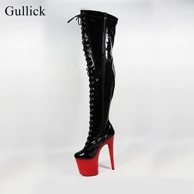 Super High Over the Knee Boots Women Black Patent Leather Platform Lace-up Boots 20cm Heel Red Heels Thigh High Boots Sexy Shoes women boots sexy ladies high heels tall boots patent leather platform shoes over the knee boots for women red pole dancing boots