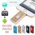 For iPhone 6, 6s Plus 5 5S 7puls ipad Metal Pen drive HD memory stick Dual purpose mobile Otg Micro USB FLASH Drive 512/256/64GB