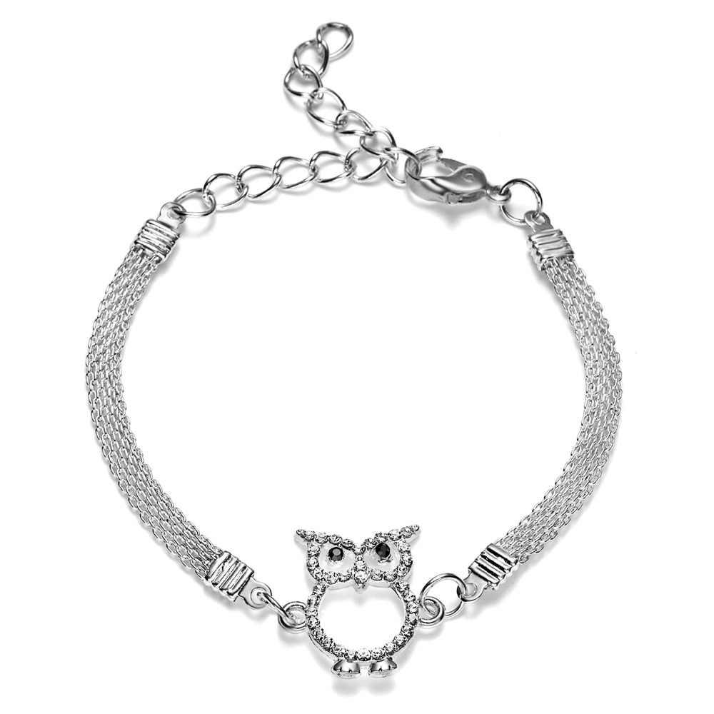 Простой стиль ювелирные изделия Irl подарки животное посеребренный Шарм браслет Сова Стразы браслет