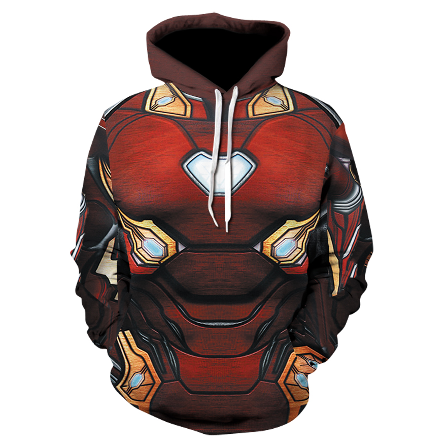 New 2019 Avengers 4 Infinite War Men Hoodies Fashion Men Red Iron Man 3d Print Hoodies Streetwear Casual Cospaly Sweatshirt Plus