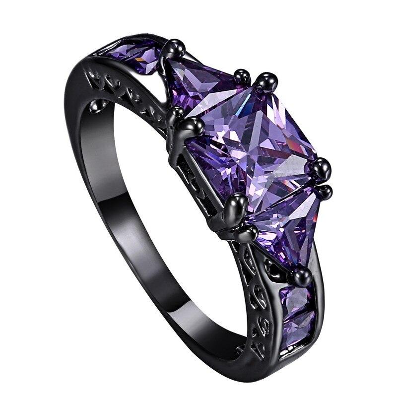Luxury Finger Rings Purple Crystal Rhinestone Wedding Band Women Engagement Gift