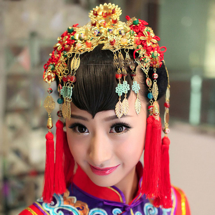 Luxury Bridal traditional Chinese Red Beads Gold Tassel ...