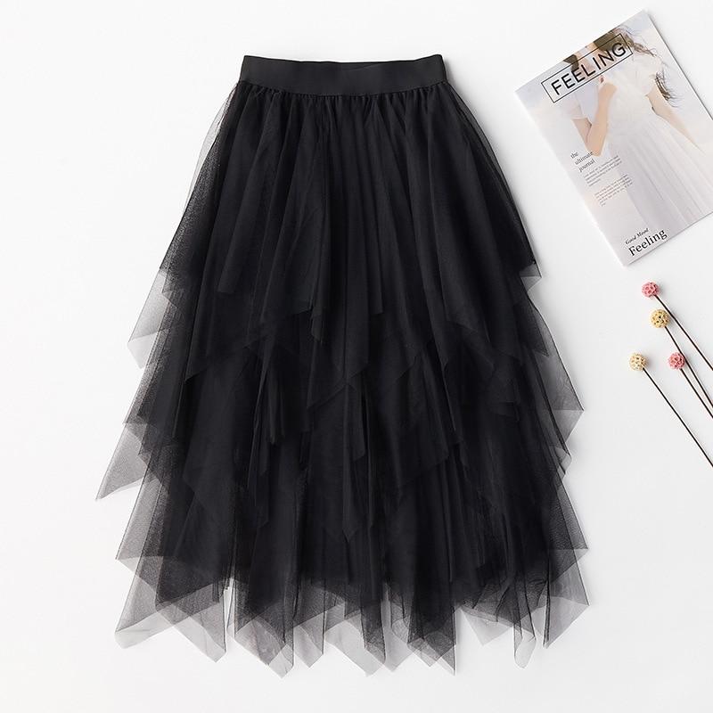 2019 high quality new Womens Fashion Elastic High Waist Mesh black Skirt Pleated Long Skirts Midi Skirt Casual Party Skirt