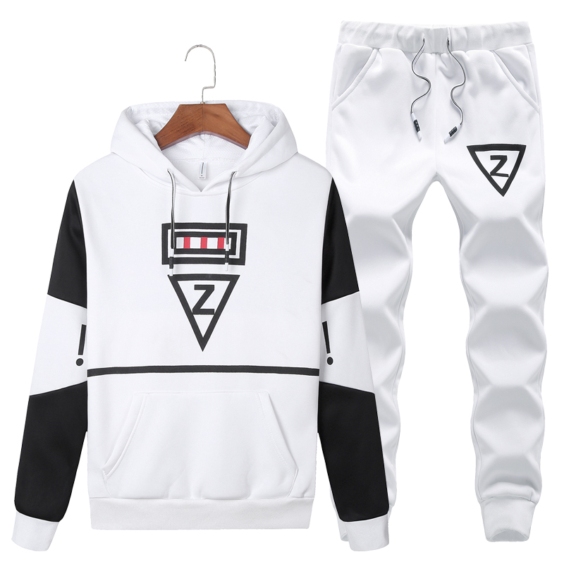 2018 Casual Set Men Hooded Tracksuit Track Hidden Suspenders Black Men's Sweat Suits Set Pockets White Z Print Large Size 5XL