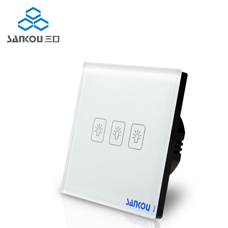 Cnskou EU Standard 3Gang 1Way 110V-220V Wall Electrical Touch Switch For Lamp White Crystal Glass Panel Manufacturer smart home eu touch switch wireless remote control wall touch switch 3 gang 1 way white crystal glass panel waterproof power