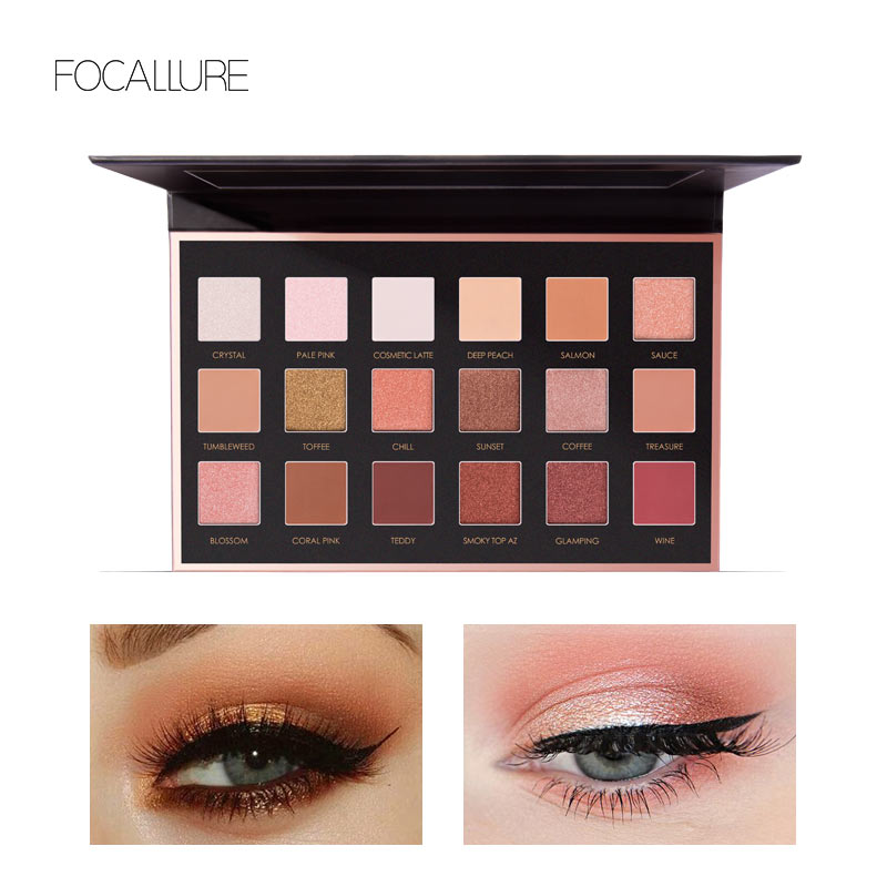 18 Full Color Matte Diamond Glitter Eyeshadow Palette Makeup Eyeshadow Palette Cosmetics Professional By FOCALLURE 8pcs makeup brushes cosmetics eyeshadow eyeliner brush kit 15 color concealer facial care camouflage makeup palette sponge puff